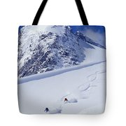 Two Young Men Skiing Untracked Powder Tote Bag by Henry Georgi Photography Inc