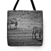 Two Zebras Eating. Tanzania Tote Bag