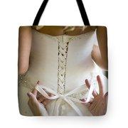 Tying The Wedding Dress Tote Bag
