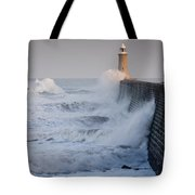 Tynemouth North Pier With Waves Tote Bag