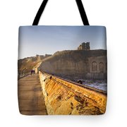 Tynemouth Priory And Castle From North Pier Tote Bag
