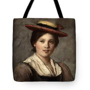 Tyrolean Dirndl With Straw Hat Tote Bag