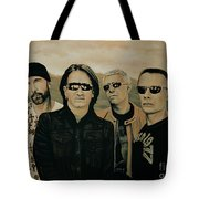 U2 Silver And Gold Tote Bag
