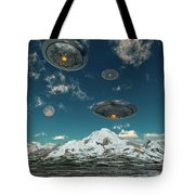 Ufos Flying Over A Mountain Range Tote Bag