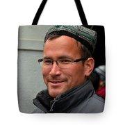 Uighur Man In Traditional Cap Smiles Tote Bag