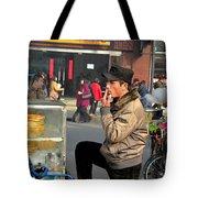 Uighur Street Side Bread Vendor Smokes Shanghai China Tote Bag