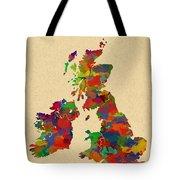 Uk Watercolor Map Tote Bag