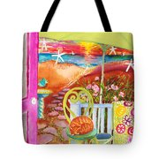 Umbrella With Sunset Tote Bag