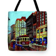 Umbrellas In The Rain Couples Stroll St.catherine Street Downtown Montreal Vintage  City Scene  Tote Bag