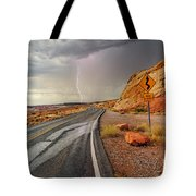 Uncertainty - Lightning Striking During A Storm In The Valley Of Fire State Park In Nevada. Tote Bag