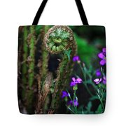 Uncurling Fern And Flower Tote Bag