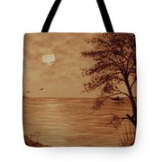 Under Moonlight Original Coffee Painting Tote Bag