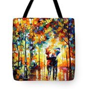 Under One Umbrella - Palette Knife Figures Oil Painting On Canvas By Leonid Afremov Tote Bag