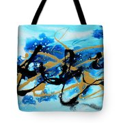 Under The Sea Original Abstract Blue Gold Painting By Madart Tote Bag