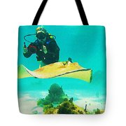 Underwater Photographer And Stingray Tote Bag