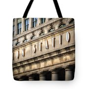 Union Station Chicago Sign And Building Tote Bag