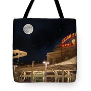 Union Station Denver Under A Full Moon Tote Bag