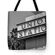 Union Station Sign Black And White Tote Bag