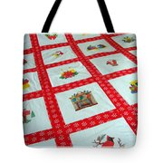 Unique Quilt With Christmas Season Images Tote Bag