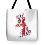 United Kingdom Painted Flag Map Tote Bag