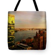 United Nations Building At Nightfall With Chrysler Building Reflection - Landmark Buildings  Tote Bag