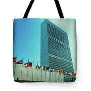 United Nations Building With Flags Tote Bag