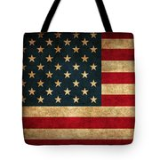 United States American Usa Flag Vintage Distressed Finish On Worn Canvas Tote Bag by Design Turnpike