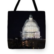United States Capitol Dome Scaffolding At Night Tote Bag