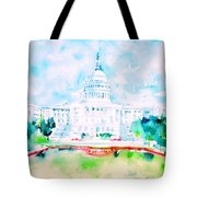 United States Capitol - Watercolor Portrait Tote Bag