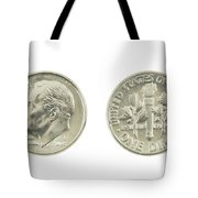 United States Dime On White Background Tote Bag