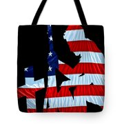 A Time To Remember United States Flag With Kneeling Soldier Silhouette Tote Bag