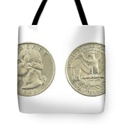 United States Quarter On White Background Tote Bag