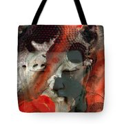 Universal Qi - Zen Black And Red Art Tote Bag by Sharon Cummings