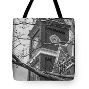 University Hall Tower Black And White  Tote Bag