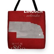 University Of Nebraska Lincoln Cornhuskers College Town State Map Poster Series No 071 Tote Bag