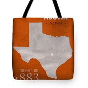 University Of Texas Longhorns Austin College Town State Map Poster Series No 105 Tote Bag