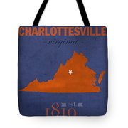 University Of Virginia Cavaliers Charlotteville College Town State Map Poster Series No 119 Tote Bag