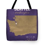 University Of Washington Huskies Seattle College Town State Map Poster Series No 122 Tote Bag