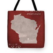 University Of Wisconsin Badgers Madison Wi College Town State Map Poster Series No 127 Tote Bag