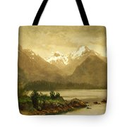 Untitled Mountains And Lake Tote Bag