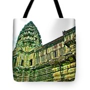 Upper Level Tower In Angkor Wat In Angkor Wat Archeological Park Near Siem Reap-cambodia Tote Bag