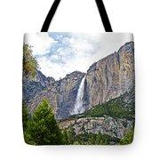 Upper Yosemite Falls From The Valley Floor In Yosemite National Park-california Tote Bag