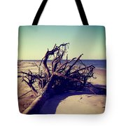 Uprooted Tree On The Beach Tote Bag