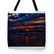 Upside Down Peace Sign Sunrise Tote Bag