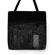 Uptown Nyc White On Black Tote Bag