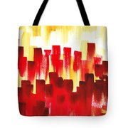 Urban Abstract Red City Lights Tote Bag