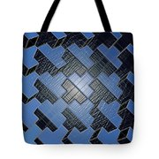 Urban Blue City Boxes Cube Leather Tote Bag