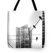 Urban Pigeons On Wires Tote Bag
