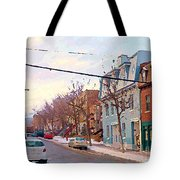 Urban Winter Landscape Colors Of Quebec Cold Day Pointe St Charles Street Scene Montreal  Tote Bag