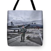 U.s. Air Force Pilot Standing In Front Tote Bag by Terry Moore